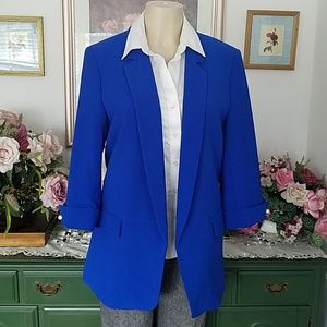 Zara 3/4th sleeve royal blue long oversized blazer